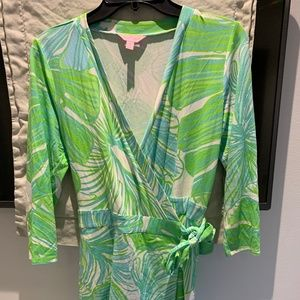 Lilly Pulitzer Blue and Green Wrap Dress